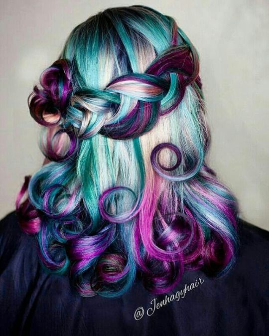 Beauty Fantasy Unicorn Purple Violet Red Cherry Pink Yellow Bright Hair Colour Color Coloured Colored Fire Style Cu Hair Styles Bright Hair Colors Bright Hair