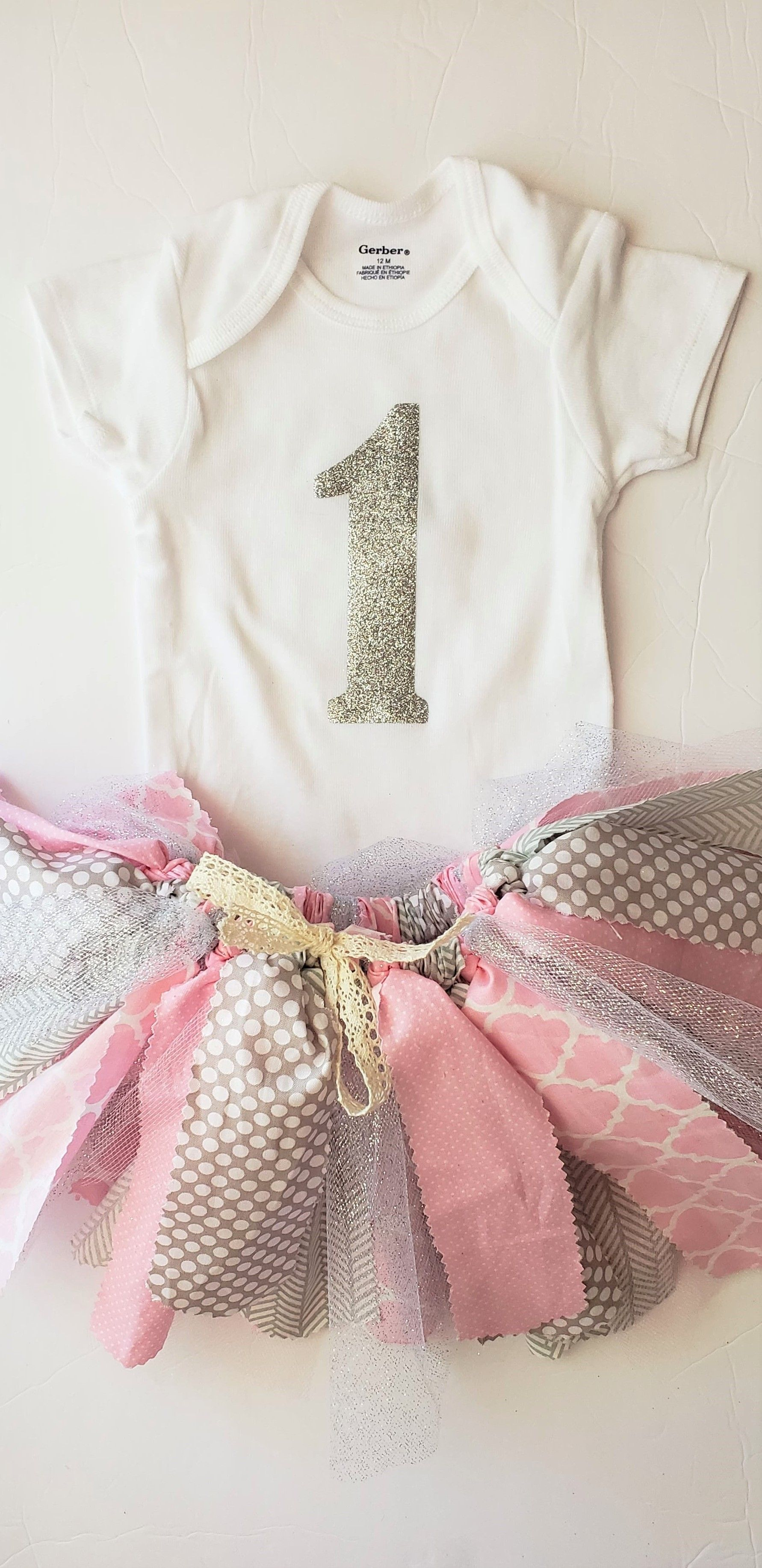 51f4118f0 Pink, gray and silver first birthday onesie and fabric/tulle tutu set!  Perfect