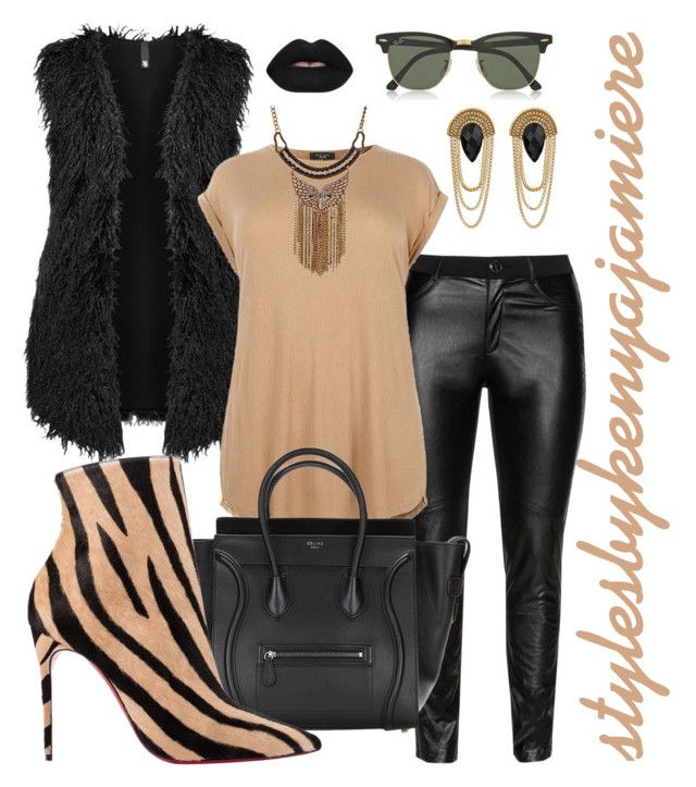 """""""Wild Style (plus)"""" by stylesbykenyajamiere ❤ liked on Polyvore featuring DNY, Manon Baptiste, Christian Louboutin, Ray-Ban, GUESS, Lime Crime, rayban, Guess, plussizefashion and chrisyianlouboutin"""