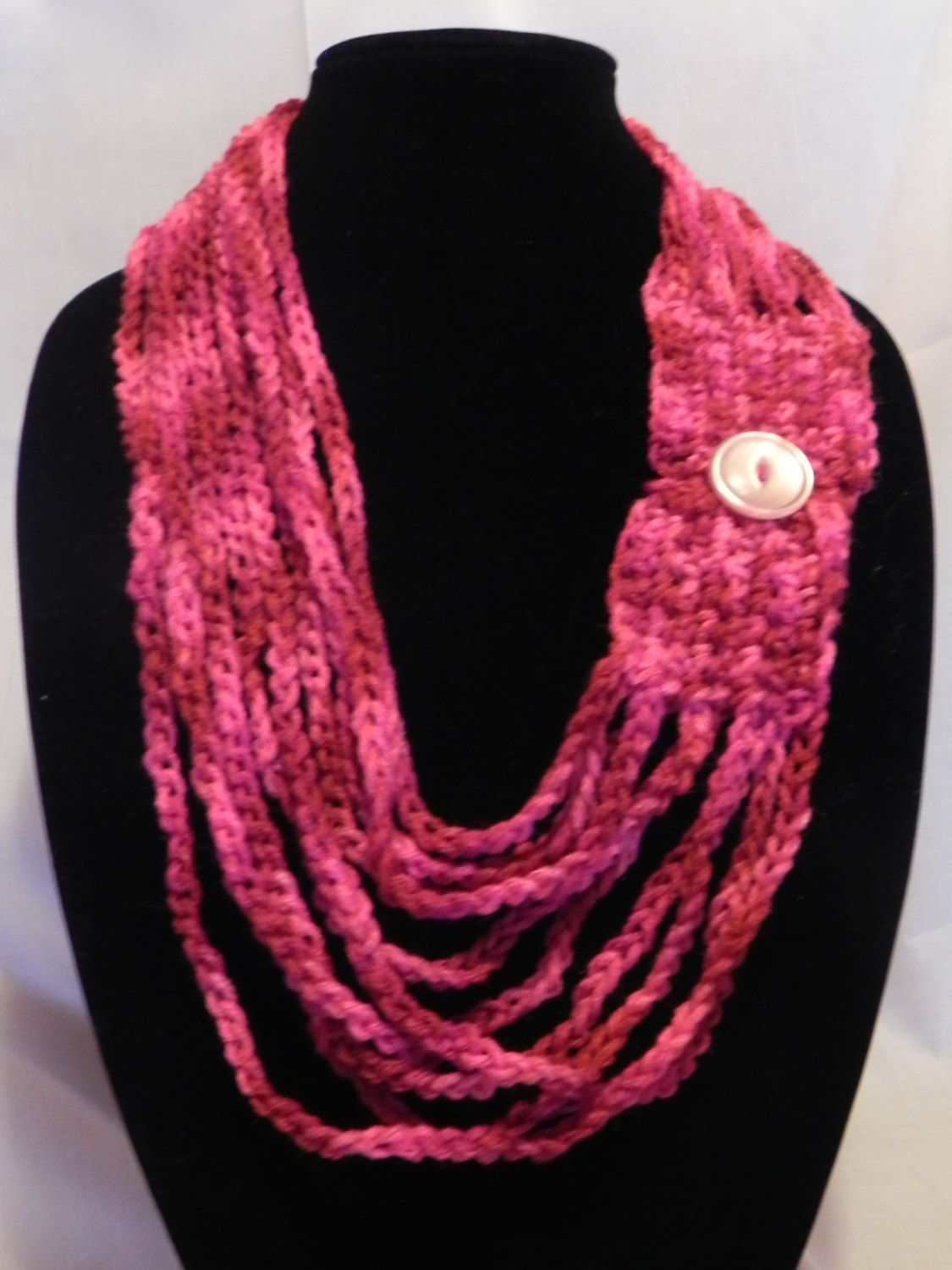 Crochet Chain Scarf Necklace Varigated with Button. $15.00, via Etsy ...