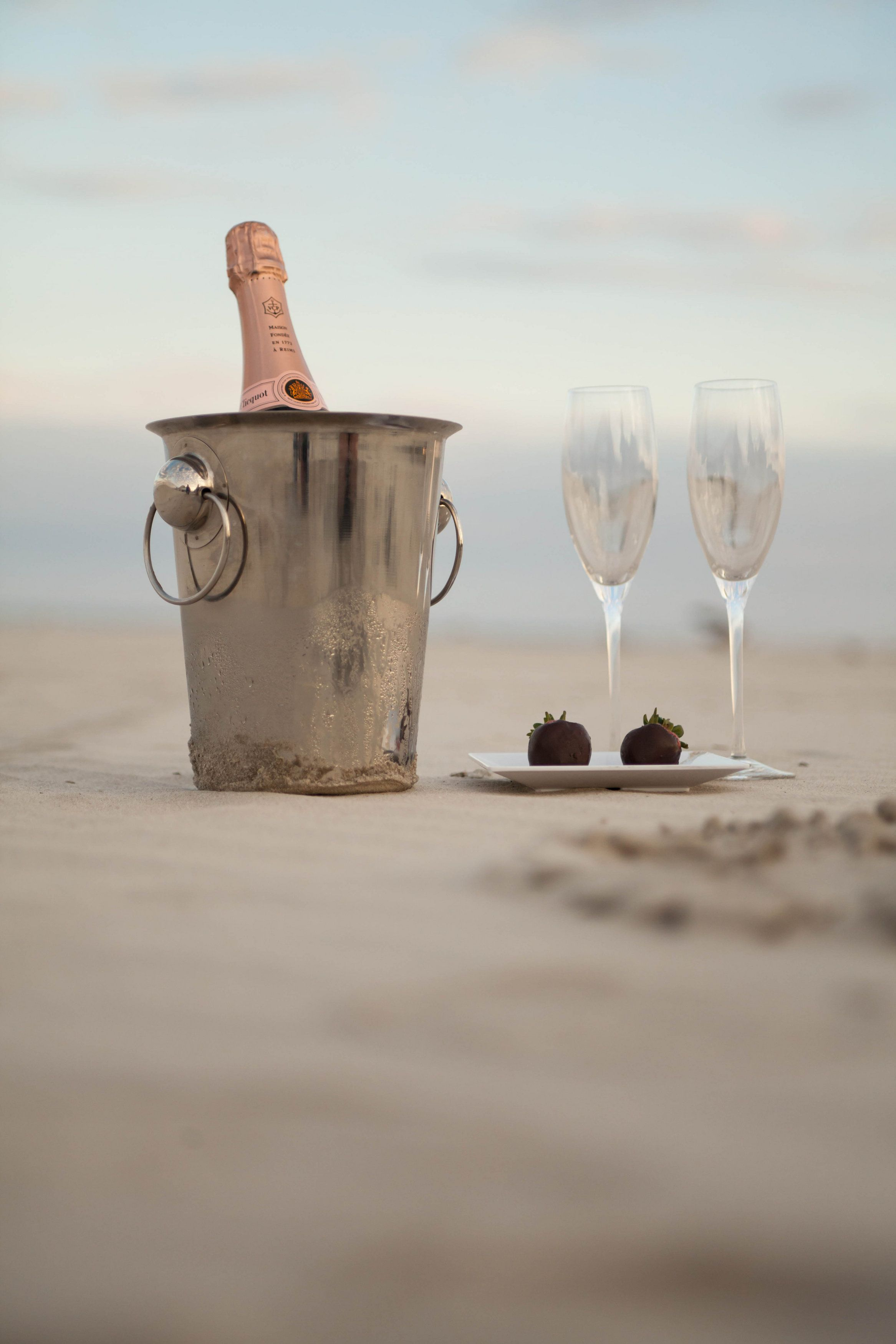 Champagne and Strawberries on our Private Beach