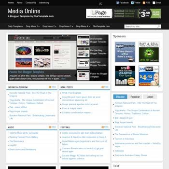 magazine style template for portal news blog with auto recent post per categories