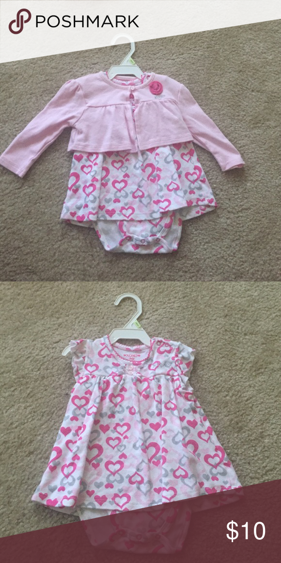 Onesie Dress NWOT Washed but never worn. Super cute. XoXo Baby. Comes with cardigan XOXO Dresses Casual