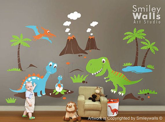 Dino dinosaurs land huge set baby nursery kids playroom for Dinosaur wall decals for kids rooms