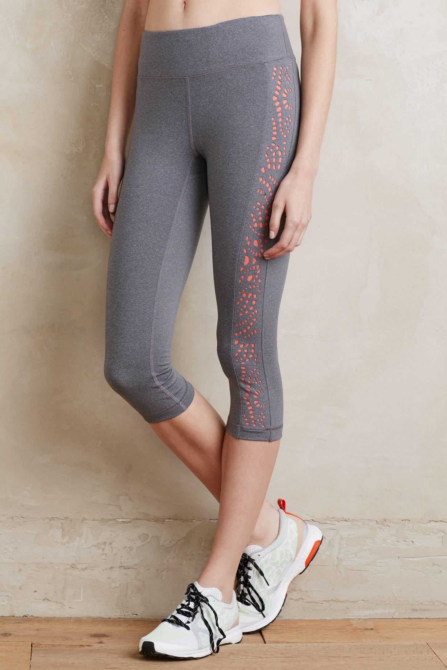 d4818952b049af Women's Gray Laser-cut Cropped Leggings, Grey   Sold   Active wear ...