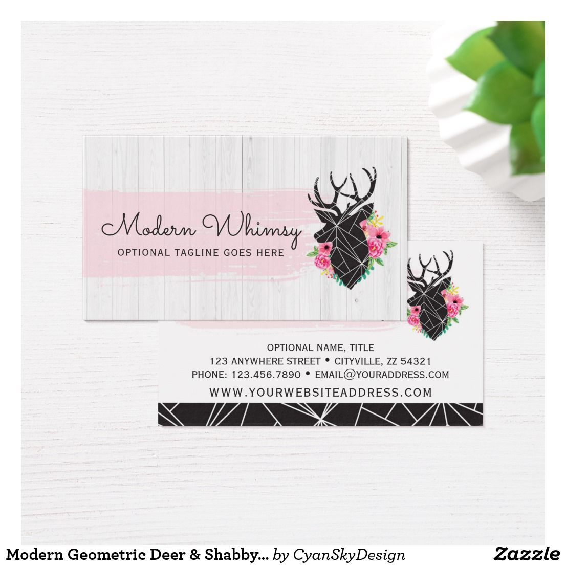 Modern geometric deer shabby roses rustic wood business card modern geometric deer shabby roses rustic wood business card branding marketing cyanskydesign reheart Image collections