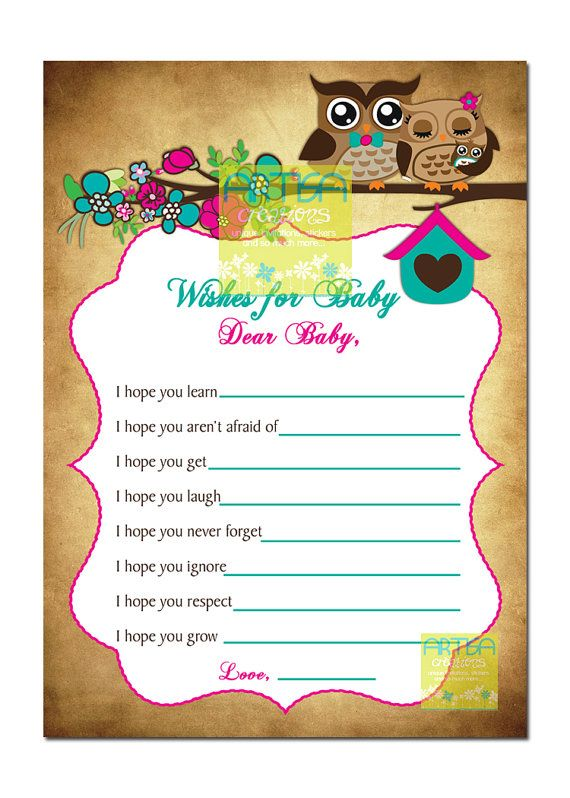 Spring Owls Baby Shower Wishes For Baby Card Owls Baby Shower