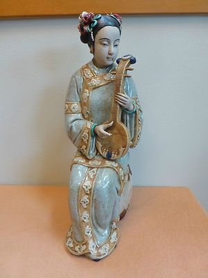 Antique Vintage Chinese Porcelain Lady Figurine Statue Large 18 2 Marked Pipa | eBay