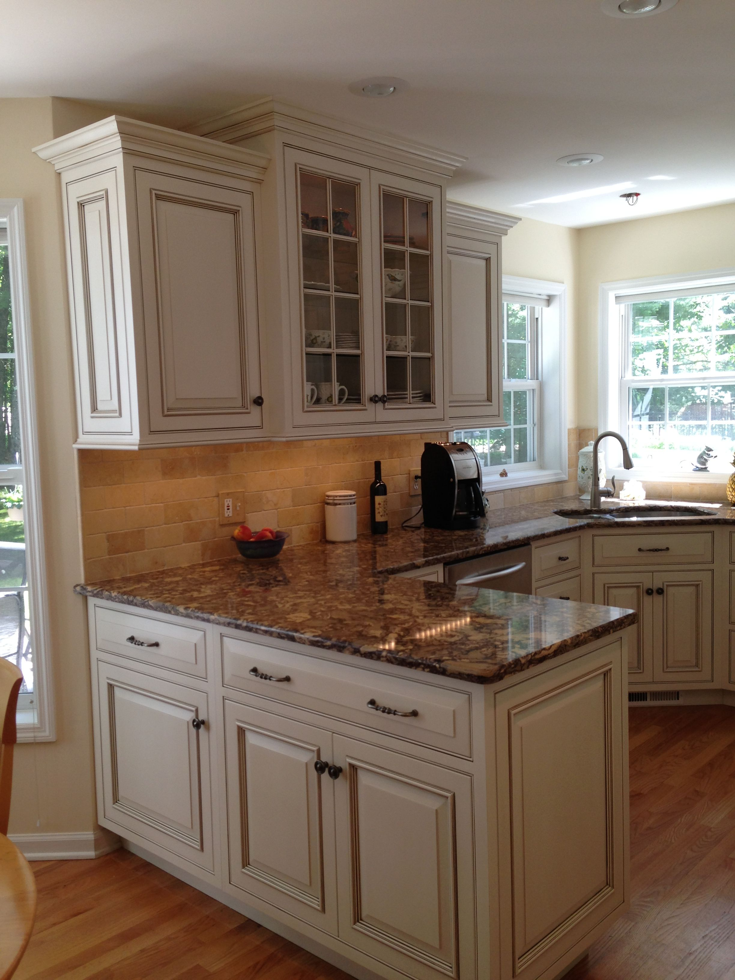 Custom inset door cabinets in antique white with glaze for See kitchen designs