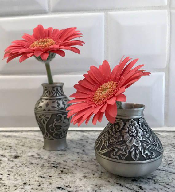 Vintage Selandor Pewter Bud Vases Pair Pewter Small Spaces And Spaces