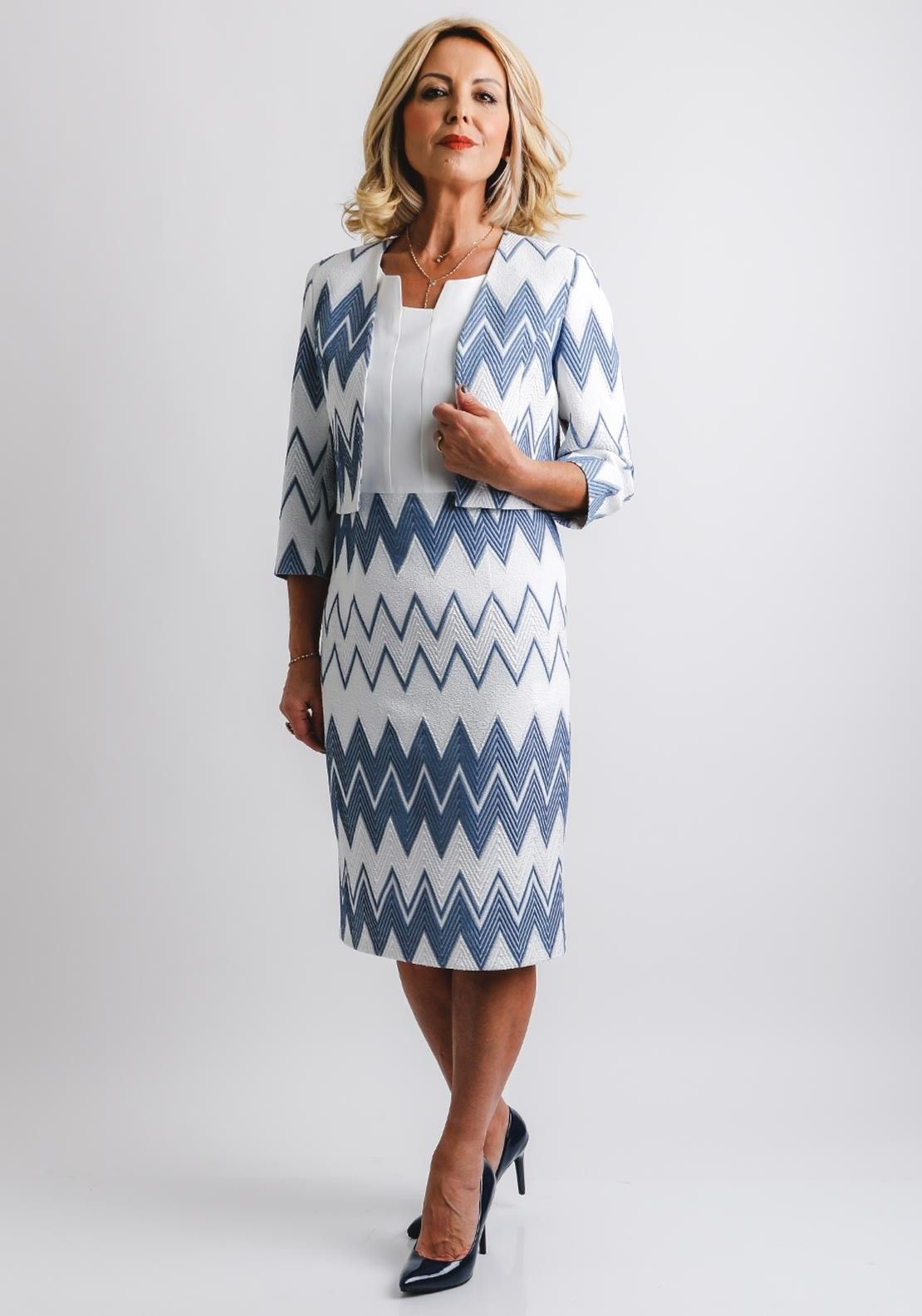 1fae394059f3c8 Navy Heels, Chevron Print Dresses, Navy Chevron, Crepe Fabric, Occasion Wear ,