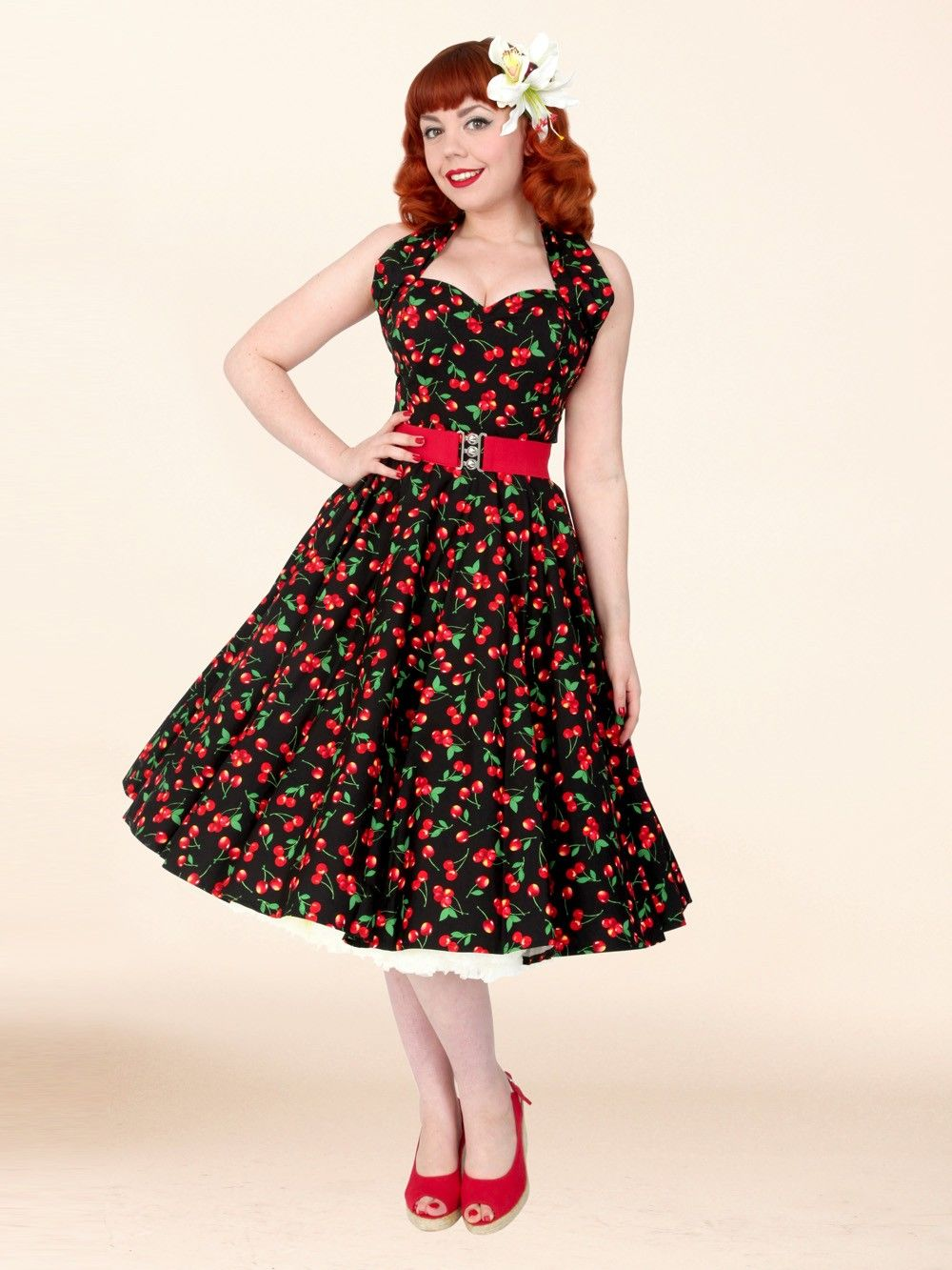 998742a78c3 50s-1950s-Vivien-of-Holloway-Best-Vintage-Reproduction -Halterneck-Circle-Dress-Red-Black-Sateen-Cherry-Fruit-Print-Rockabilly-Swing-Pinup
