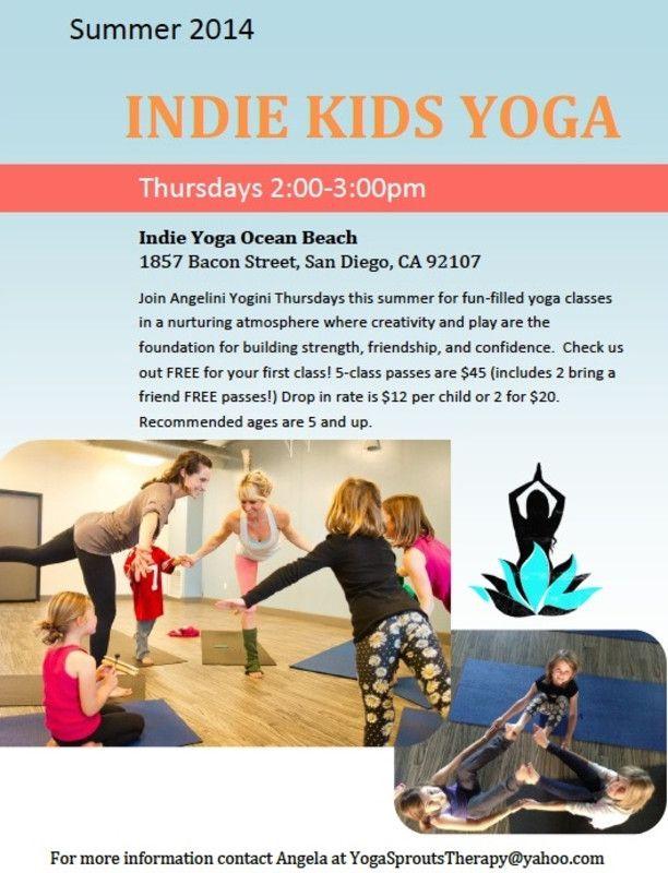 San Diego, CA Join Angelini Yogini Thursdays this summer for fun - yoga flyer