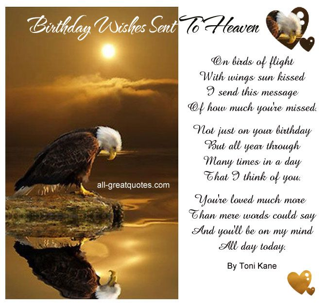 Birthday Wishes Sent To Heaven On birds of flight with wings – Send Birthday Card