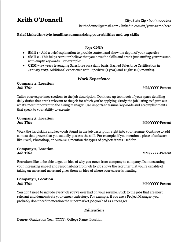 Ats Resume Template Free Download
