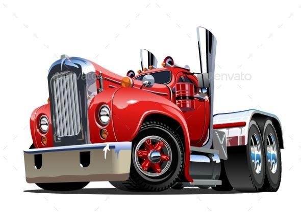 Cartoon Retro Semi Truck En 2020 Con Imagenes Camiones