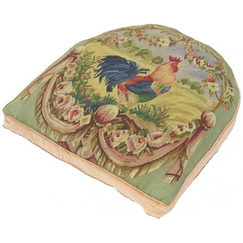Cushioned French Country Rooster Rug: French Country Rooster Aubusson Chair Cushion