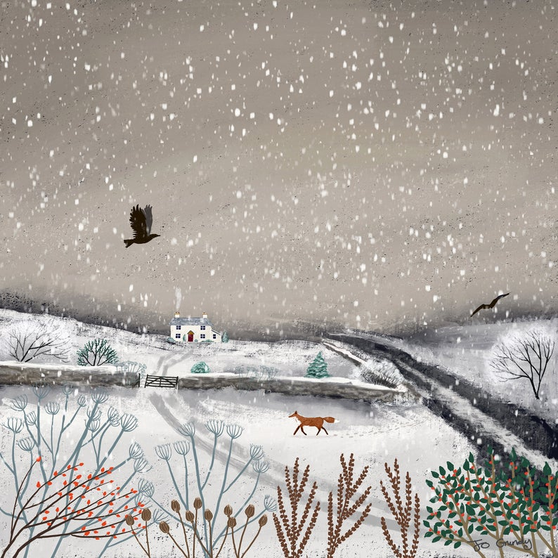 Canvas Print Of A Winter Landscape With Fox From An Original Etsy In 2021 Winter Landscape Canvas Prints Canvas Giclee
