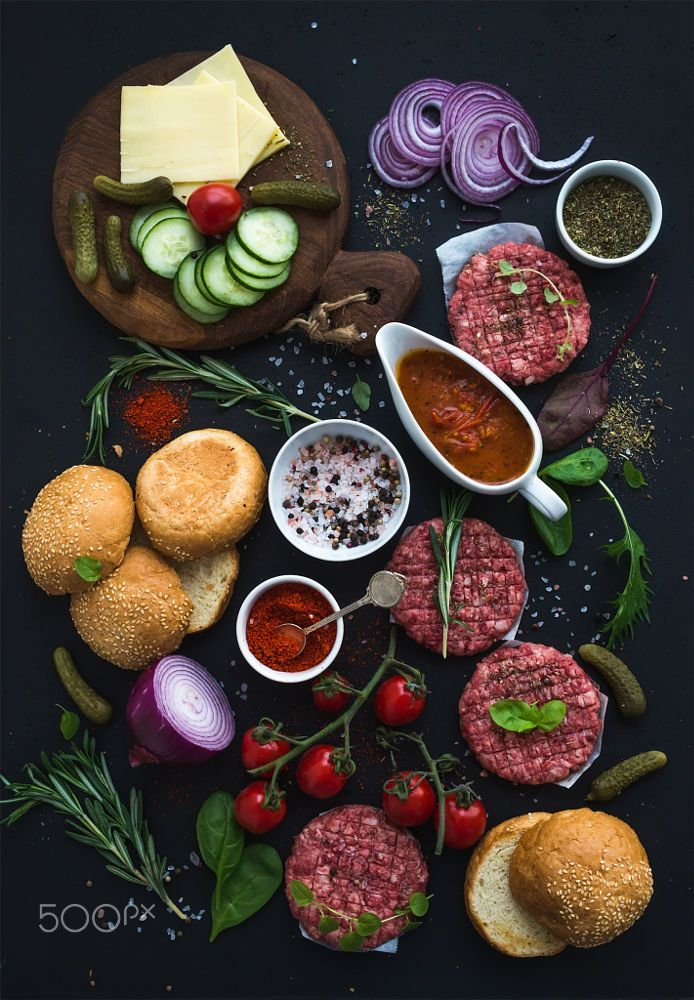 Ingredients For Cooking Burgers Raw Ground Beef Meat Cutlets Buns Red Onion Cherry Tomatoes Gre How To Cook Burgers Food Food Network Recipes