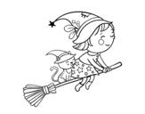 Dibujo De Brujita Volando Con Su Escoba Para Colorear Bruja Dibujo Dibujos De Halloween Halloween Para Colorear