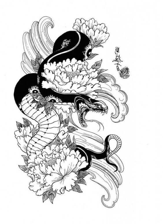 15+ Traditional Japanese Snake Tattoo Designs