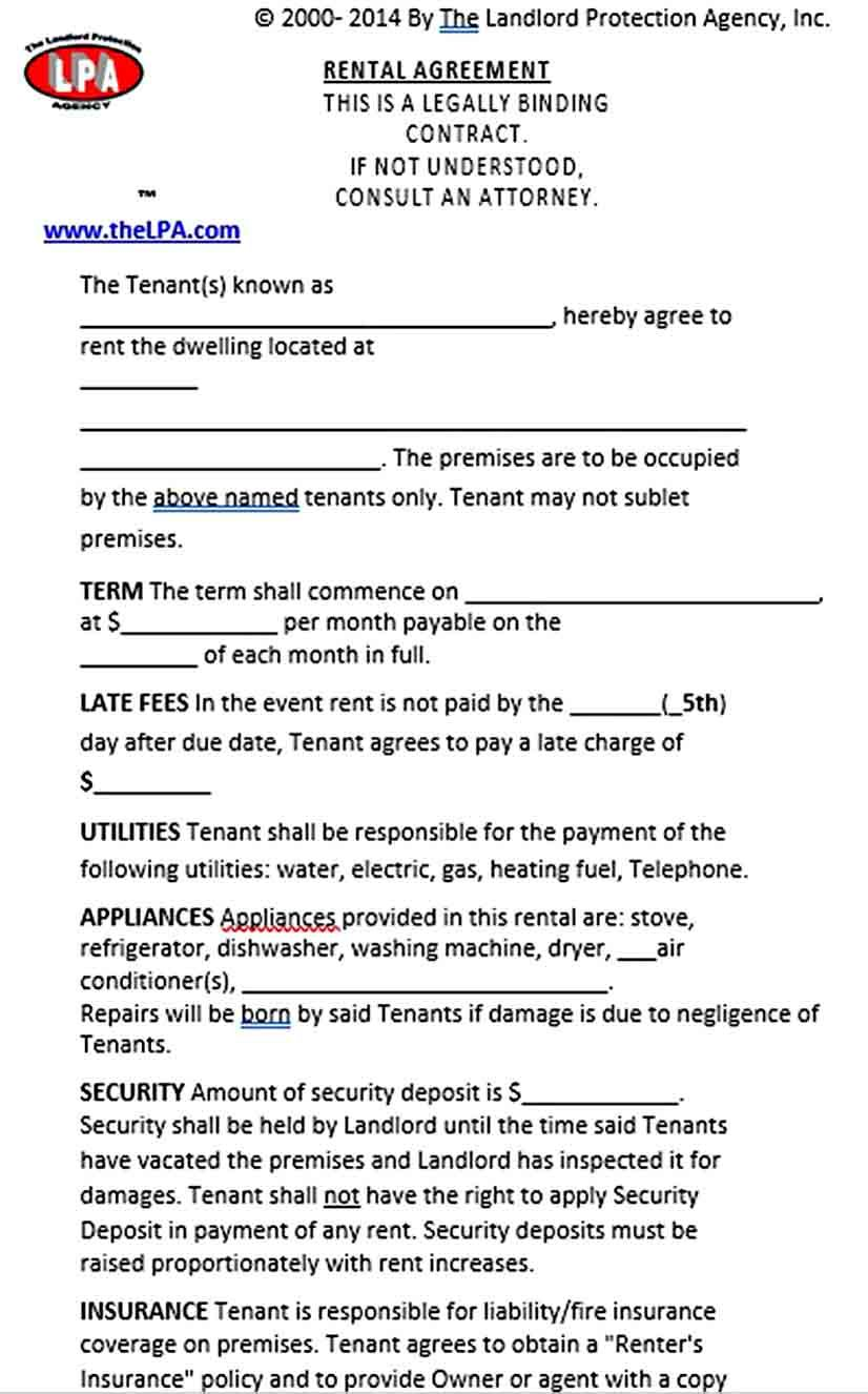 Basic Rental Agreement Template Rental Agreement Templates Being A Landlord Business Template