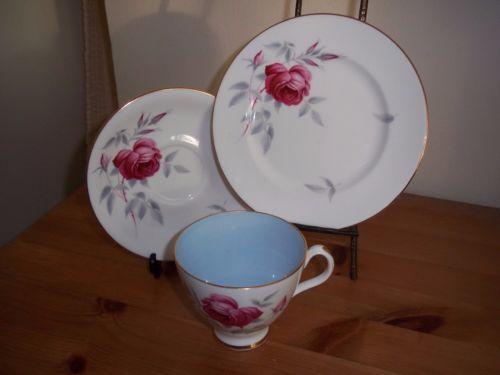 Antique-Royal-Albert-Charmaine-fine-bone-china-cup-saucer-side-plate-trio-VGC