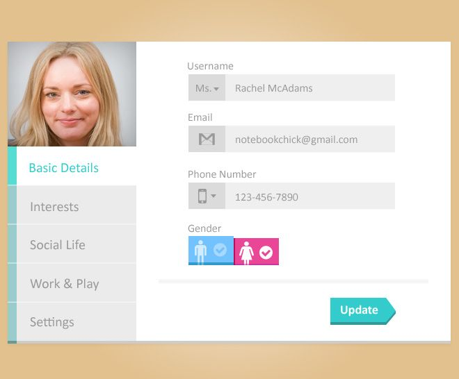 Free Psd Design Of Update User Profile Page