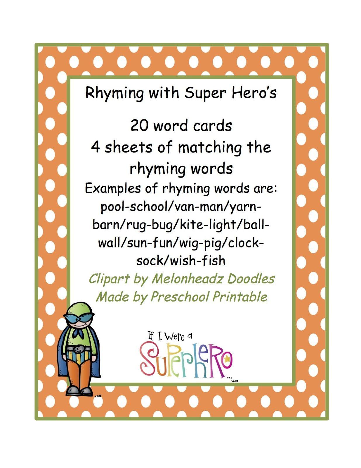 Preschool Printables Rhyming Words With Super Hero S