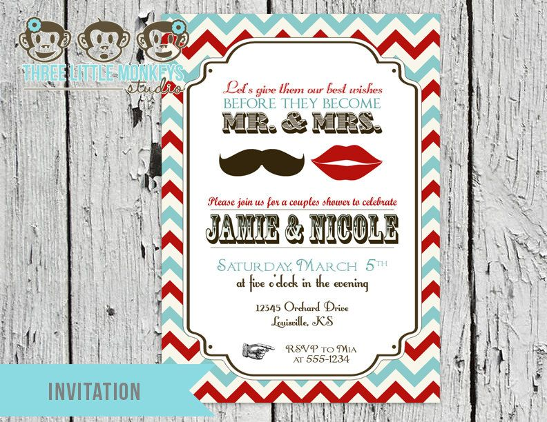Vintage Mr And Mrs Couples Wedding Shower Party Invitation 1500 Via Etsy