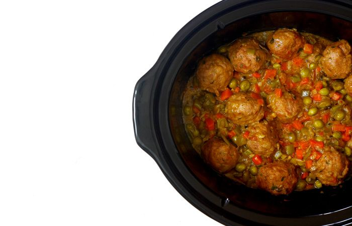 Albóndigas A La Jardinera Receta Para Crock Pot Receta Recetas Para Olla De Cocción Lenta Olla De Coccion Lenta Recetas Crockpot Recetas Saludables
