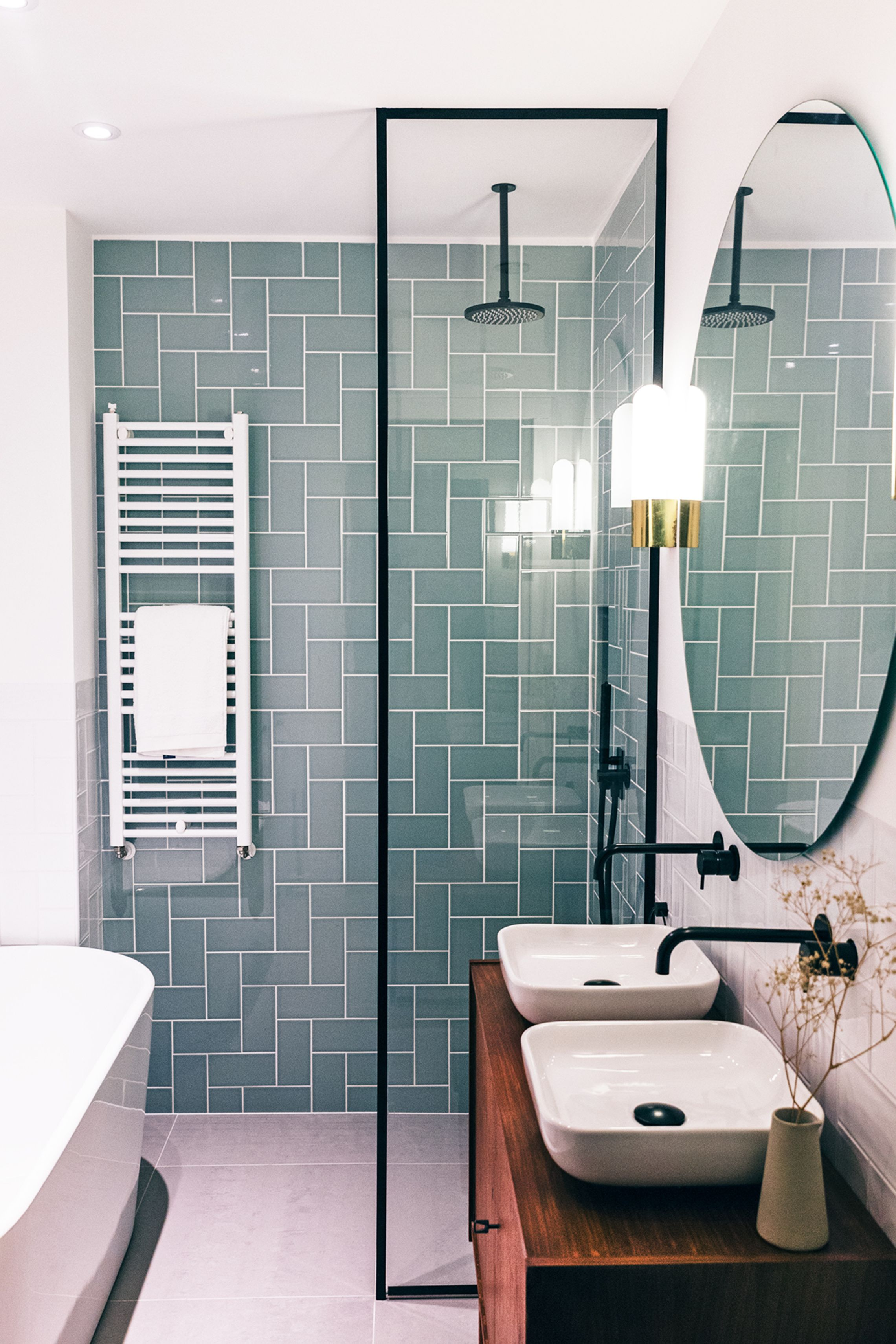 Love the tile pattern and color! Fresh way to use subway tile and ...