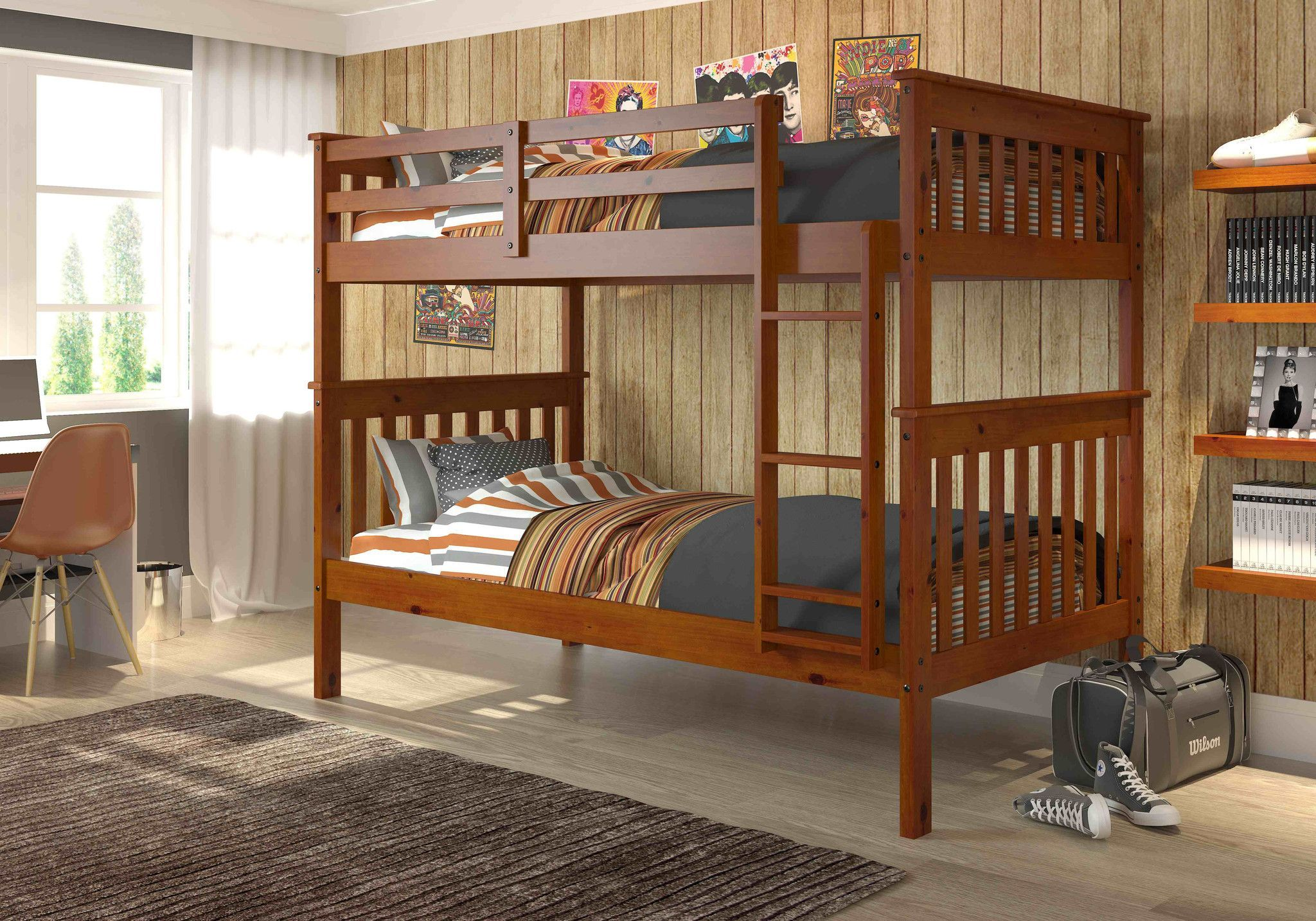 Under loft bed lighting ideas  Benjamin Espresso Bunk Bed for Kids  Bunk bed Espresso and Dream rooms