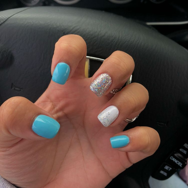 45 Most Eye Catching Simple White Gel Nails To Copy Koees Blog White Gel Nails Gel Nails Blue Gel Nails