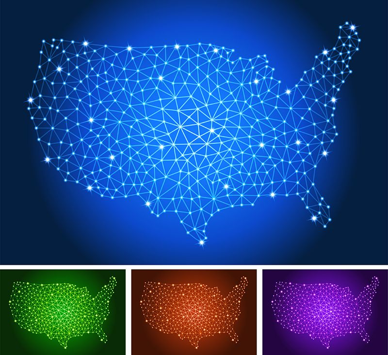 Usa map on triangle circuit board color set concept of the day usa map on triangle circuit board color set gumiabroncs Image collections
