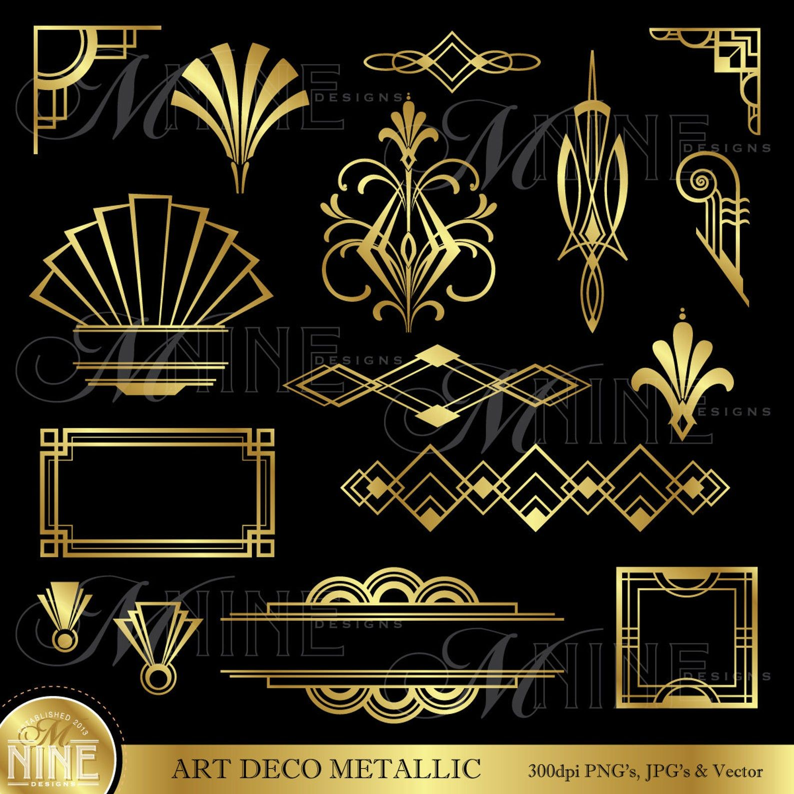 Art Deco Clip Art Gold Art Deco Accents Design Elements Digital Clipart Instant Download Vintage Accents Frame Borders Vector Svg Png Art Deco Borders Art Deco Pattern Art Deco Tattoo
