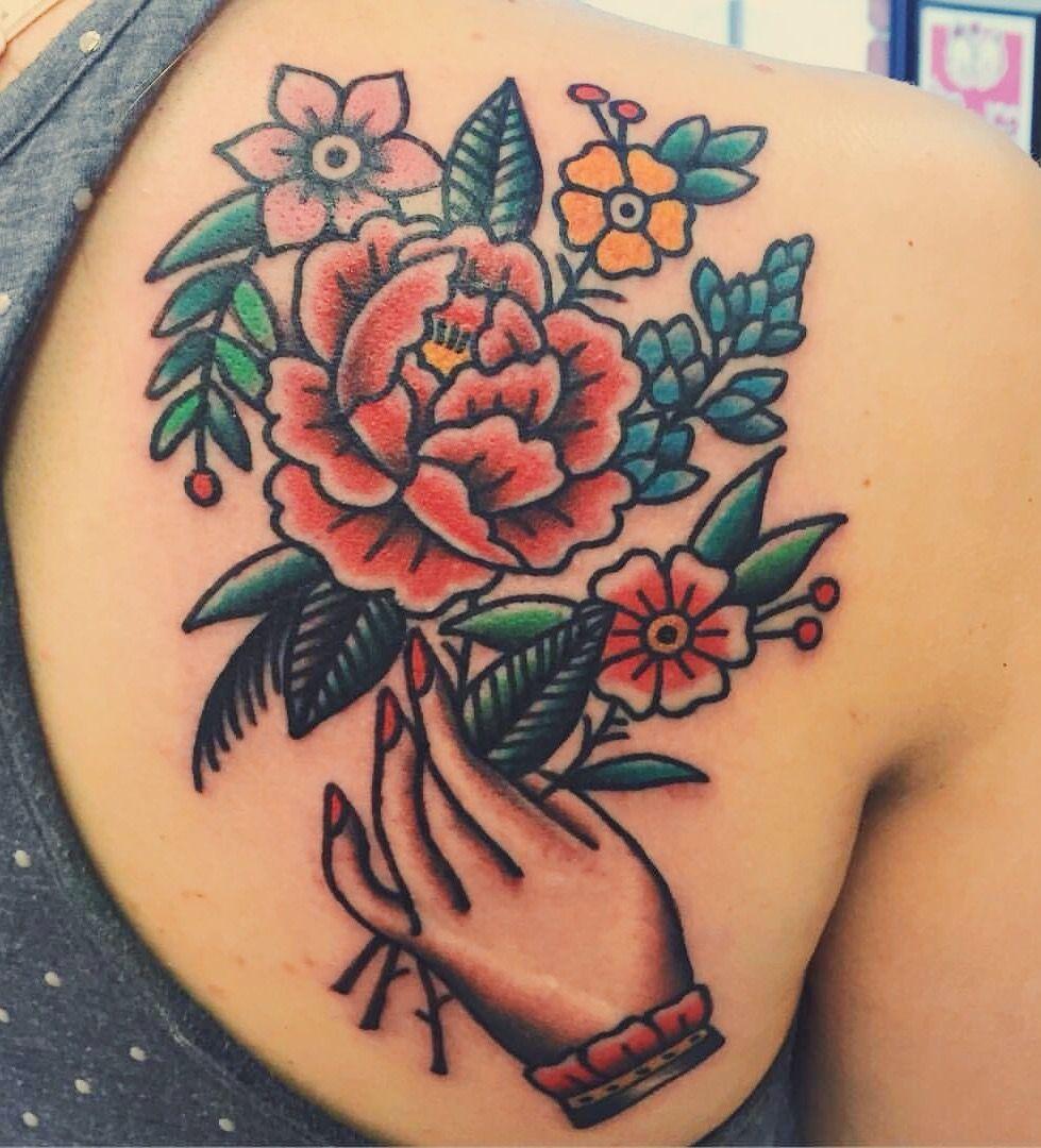 Flowers done by joel janiszyn black anvil tattoo ft for Tattoo style flowers