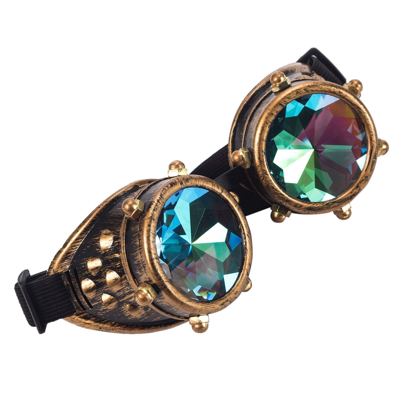 f8dacf1a39a Kaleidoscope Rave Goggles Steampunk Glasses With Rainbow Crystal Glass Lens   ebay  Fashion