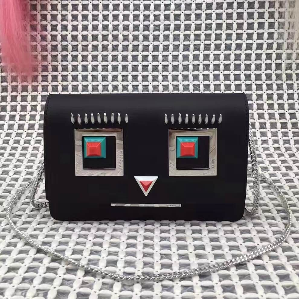 f9fa8a87a05a Fendi Calfskin Wallet On Chain With Metal Square Eyes Motif Black 2017