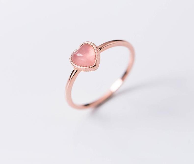 Pink heart sterling silver 925 ring. Adjustable!!!Metals Type: SilverMain Stone: OpalShape\\pattern: Heart