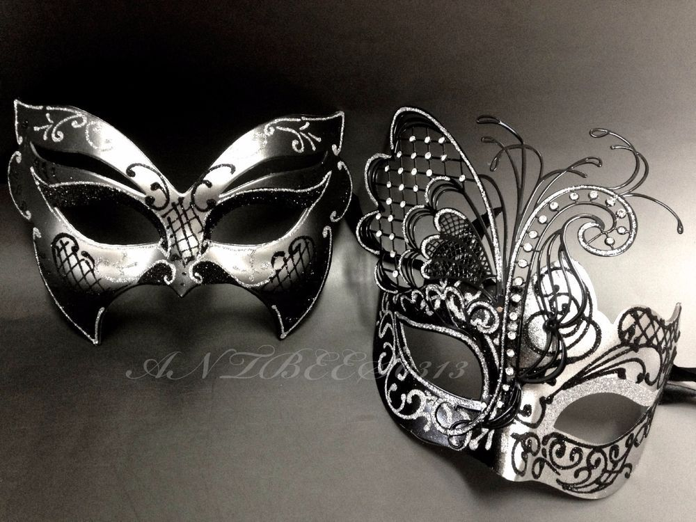 28c114e9e078 Couple Black&Silver Metal Butterfly and Glitter Venetian Masquerade Mask  Party | Clothing, Shoes & Accessories, Costumes, Reenactment, Theater, ...