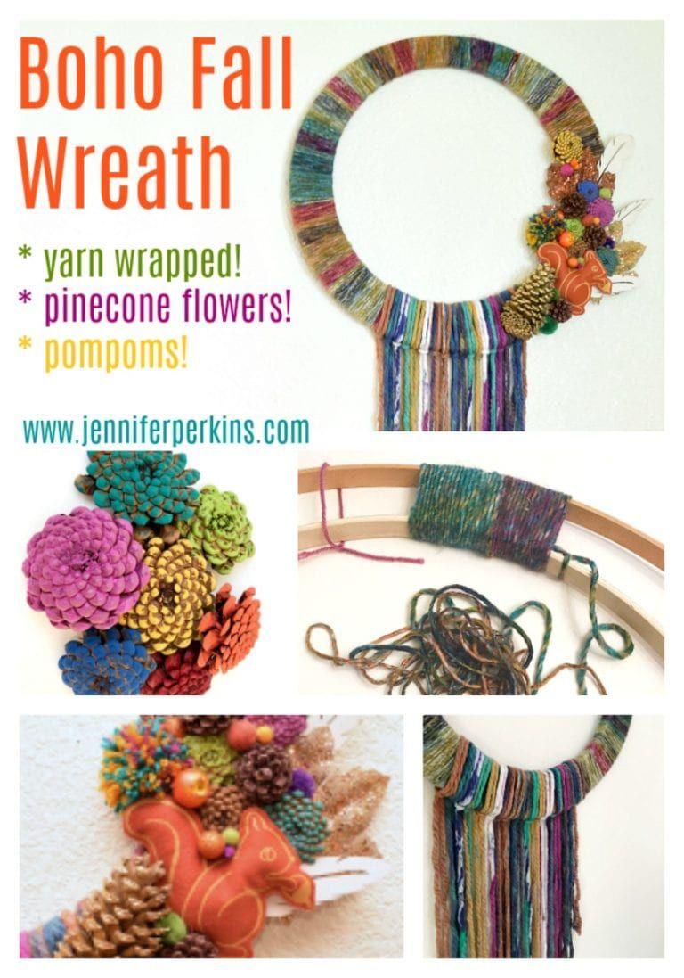 Diy Boho Inspired Yarn Wrapped Wreath To Make You Fall For Fall Yarns Wraps Yarn Crafts Yarn Diy
