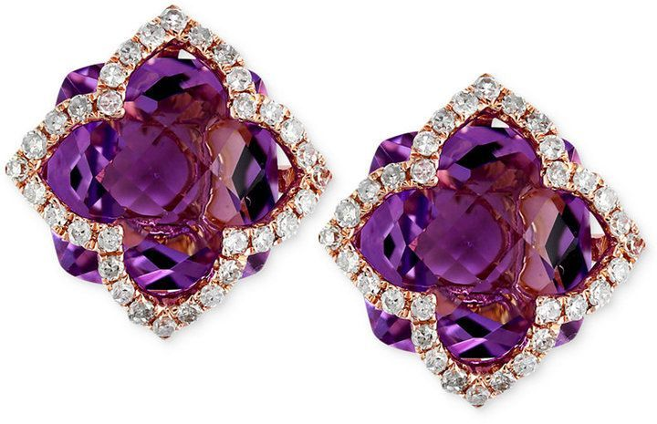 b08224e06 Effy Lavender Rose by Amethyst (6-1/4 ct. t.w.) and Diamond (1/3 ct. t.w.)  Clover Stud Earrings in 14k Rose Gold