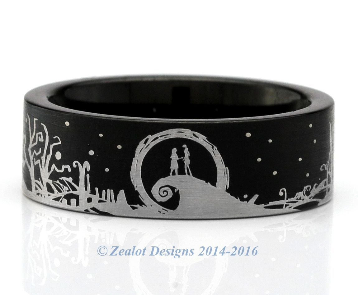 nightmare before christmas inspired wraparound black tungsten ring - Nightmare Before Christmas Wedding Rings