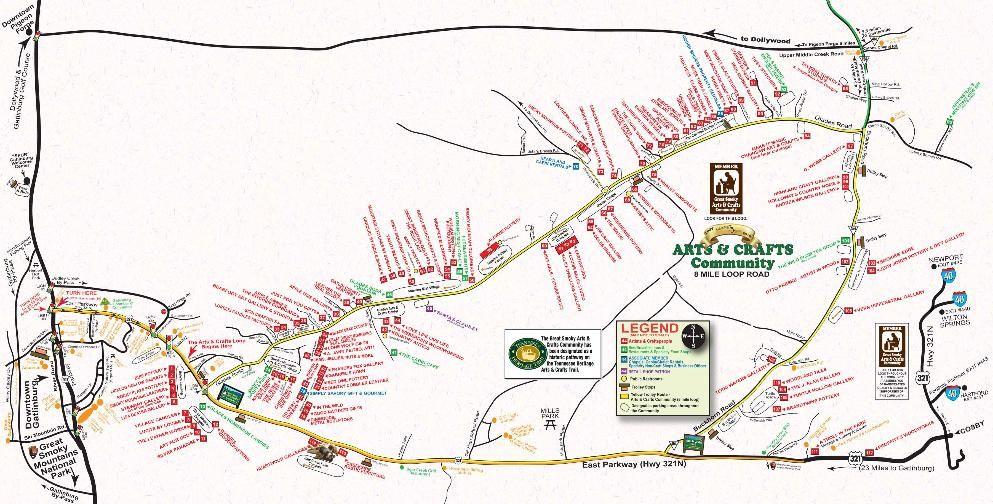 Gatlinburg Arts Crafts Community Map Map Gatlinburg Crafts