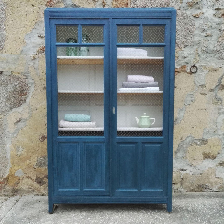 Val Rie Armoire Biblioth Que En Bois Peinte En Bleue Int Rieur  # Meuble Living En Bois
