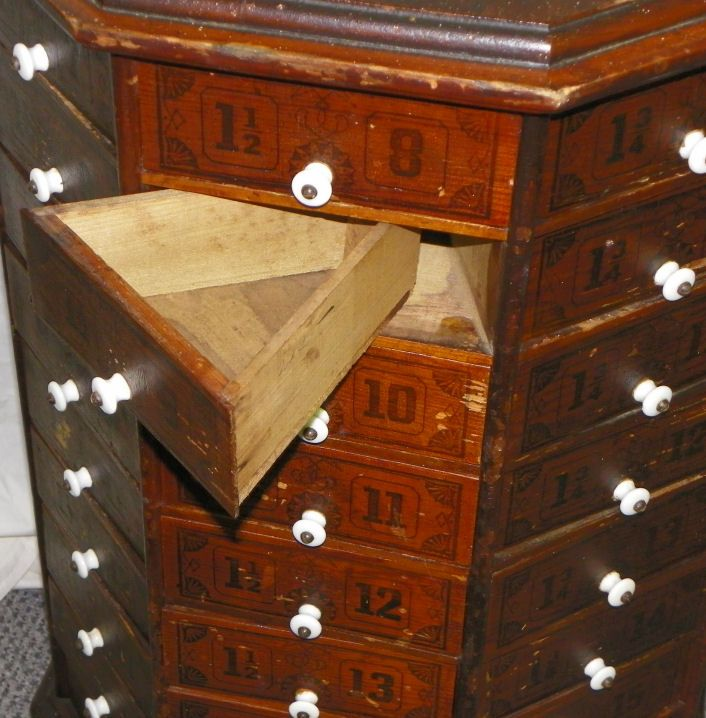 Antique Counter Store Bin Cabinets | F560C Antique Screw & Bolt ...