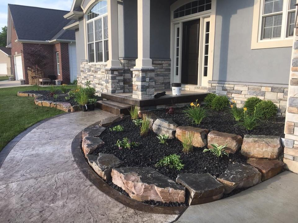 Tiered Outcropping Stone Landscape Beds At Front Entrance Tiered Landscape Landscape Curbing Landscape Design Services