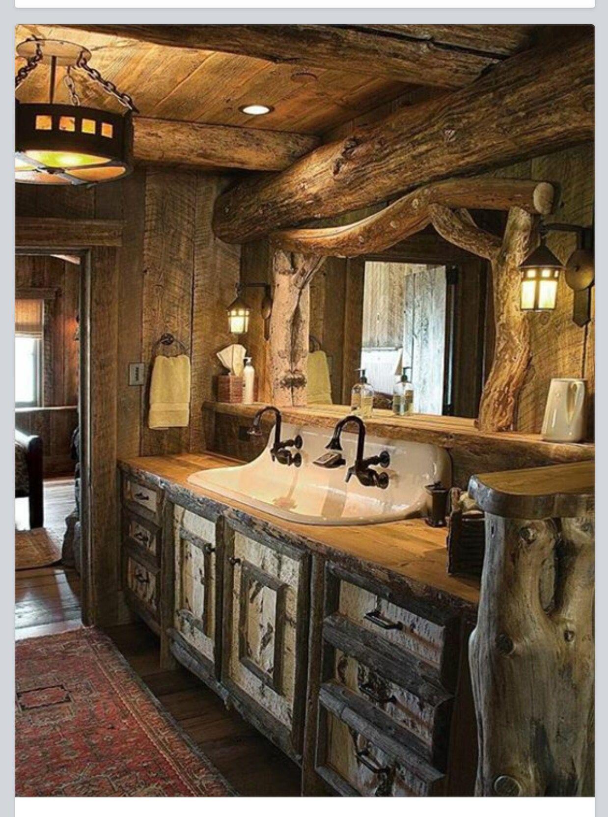 Log bath Cabin bathroom decor, Log cabin bathrooms
