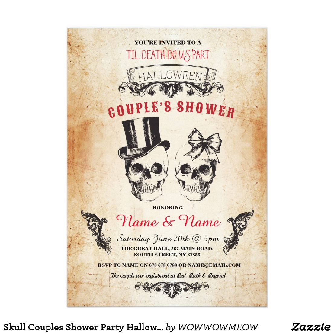 Skull Couples Shower Party Halloween Gothic Invite | Couple shower ...